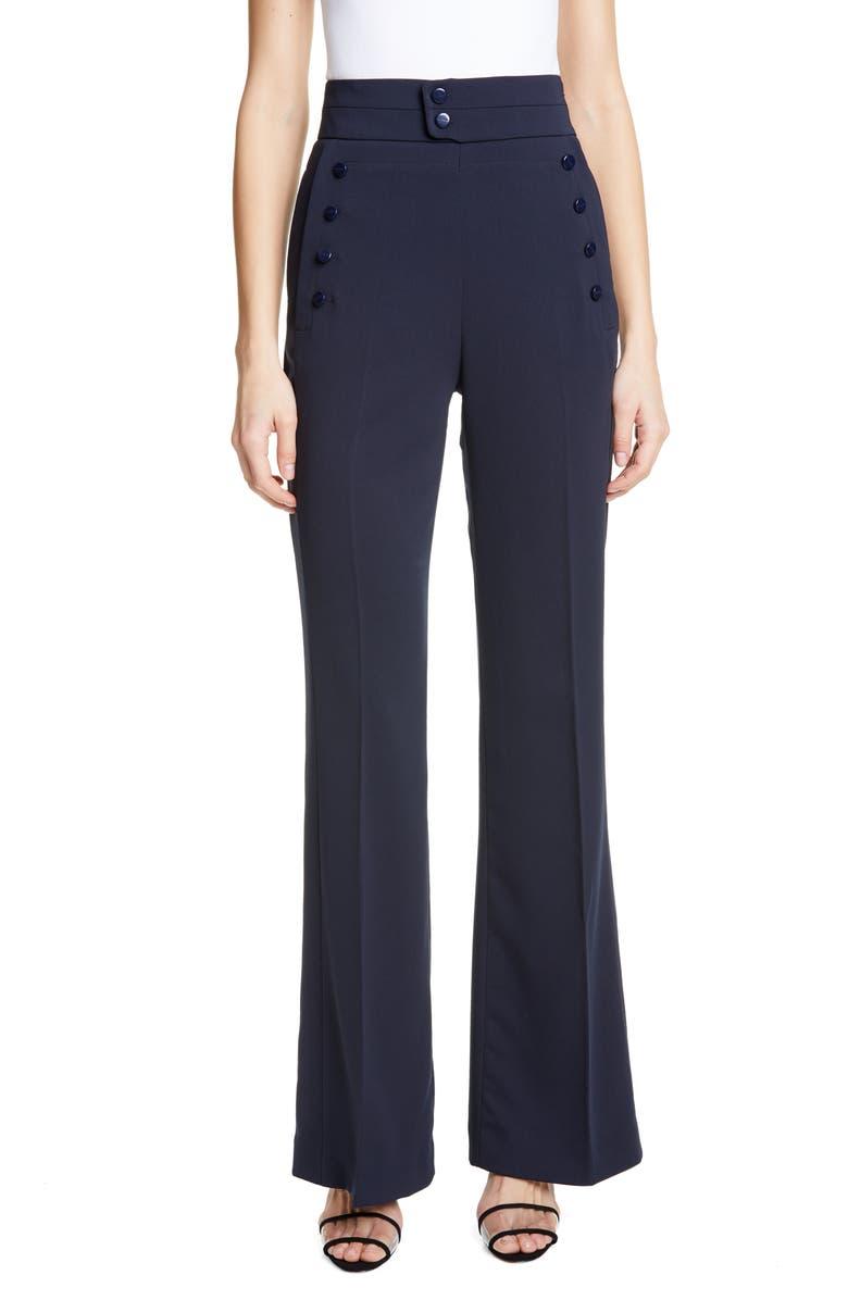 EQUIPMENT Button Detail Wide Leg Trousers, Main, color, ECLIPSE