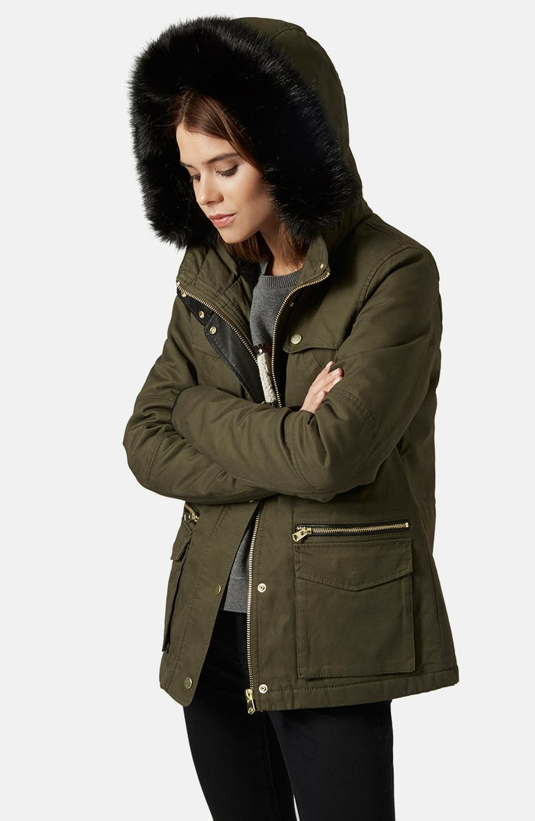 TOPSHOP 'Walter' Hooded Cotton Parka with Faux Fur Trim, Main, color, 300