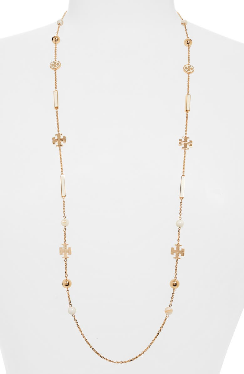 TORY BURCH Kira Scattered Rosary Necklace, Main, color, TORY GOLD / NEW IVORY