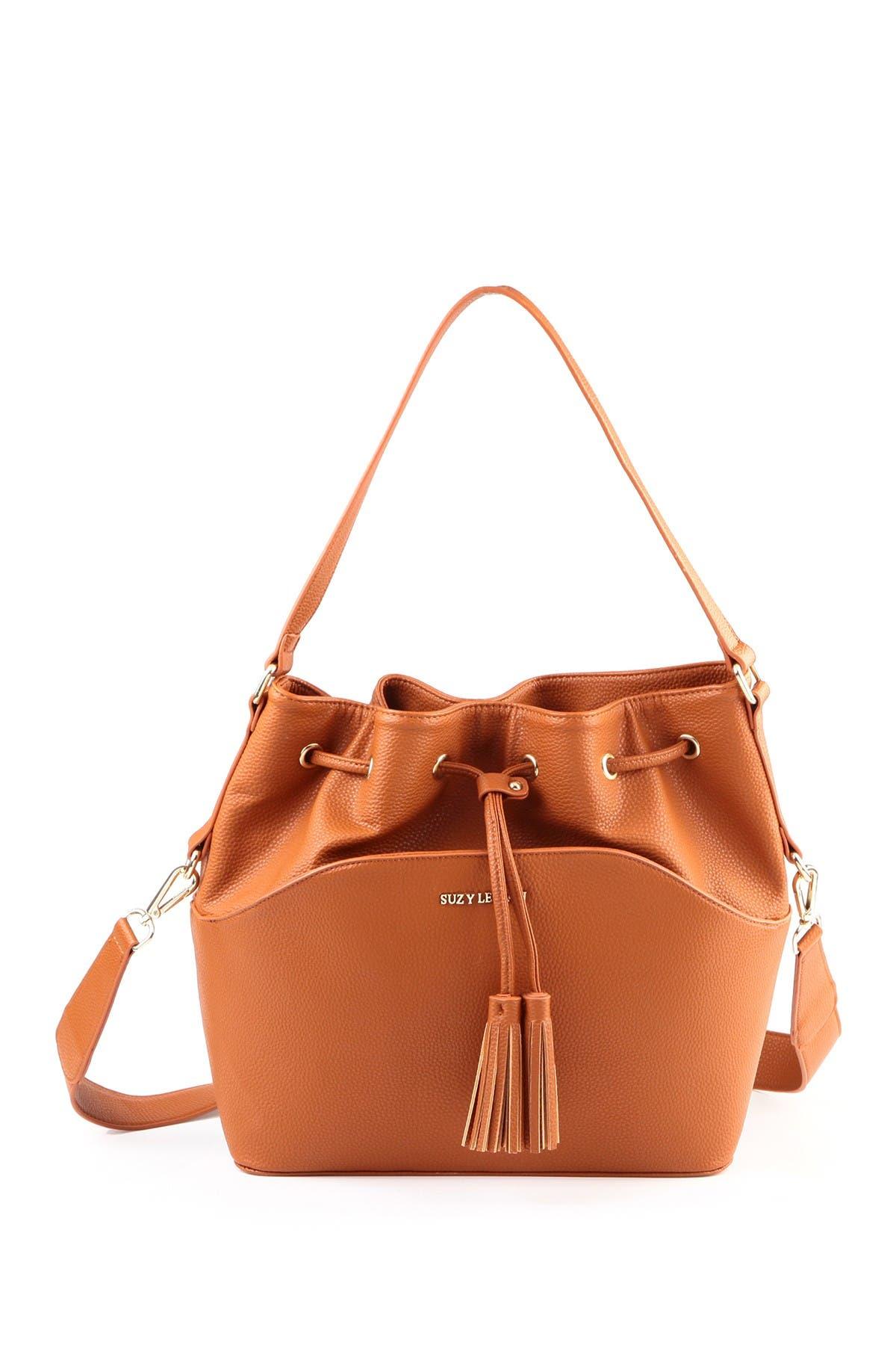 Image of Suzy Levian Tassel Drawstring Bucket Bag