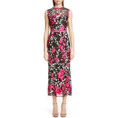 Marchesa Notte Floral Embroidered Crochet Midi Sheath Dress, Black
