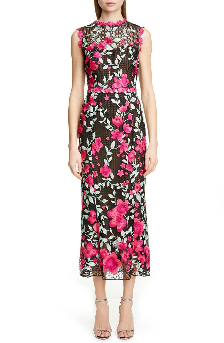 MARCHESA NOTTE Floral Embroidered Crochet Midi Sheath Dress, Main, color, BLACK