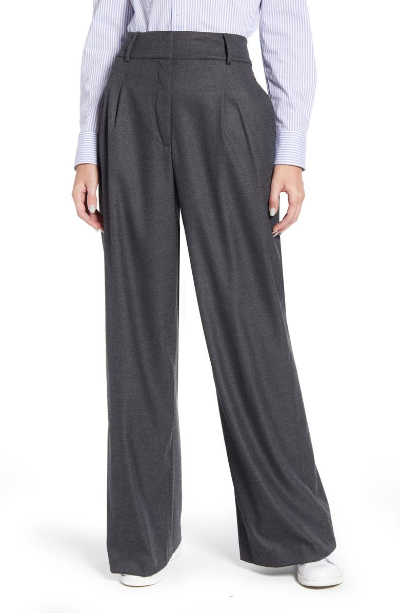 TOMMY HILFIGER Flannel Wide Leg Trousers, Main, color, DARK CHARCOAL