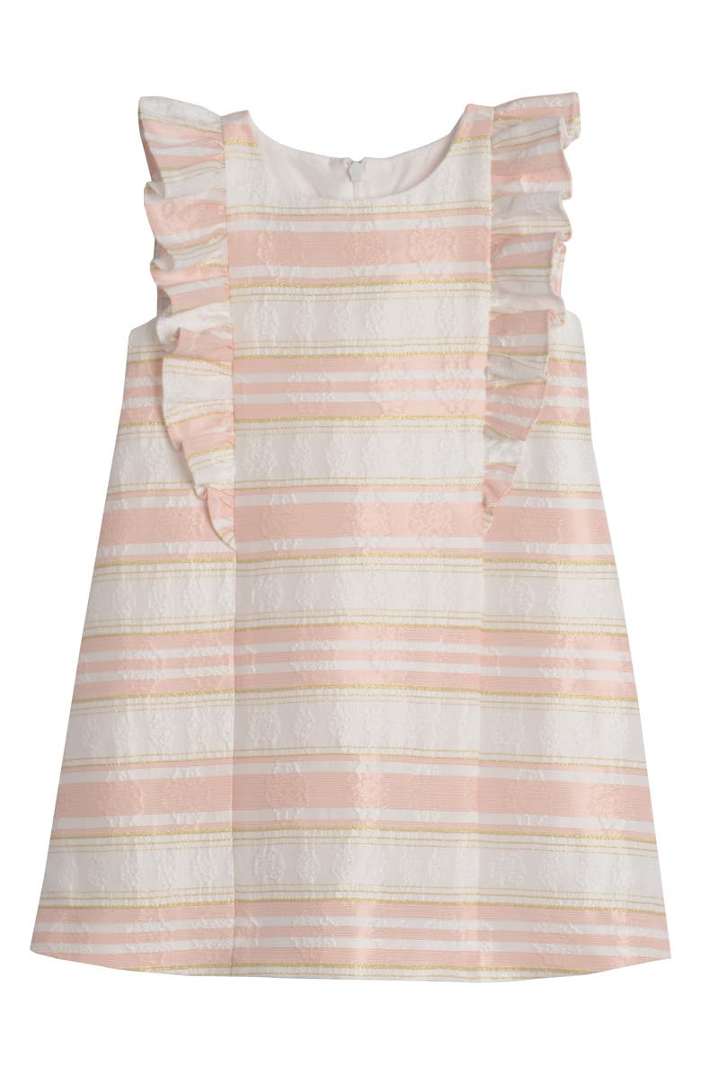 PIPPA & JULIE Stripe Brocade Dress, Main, color, IVORY/ PEACH