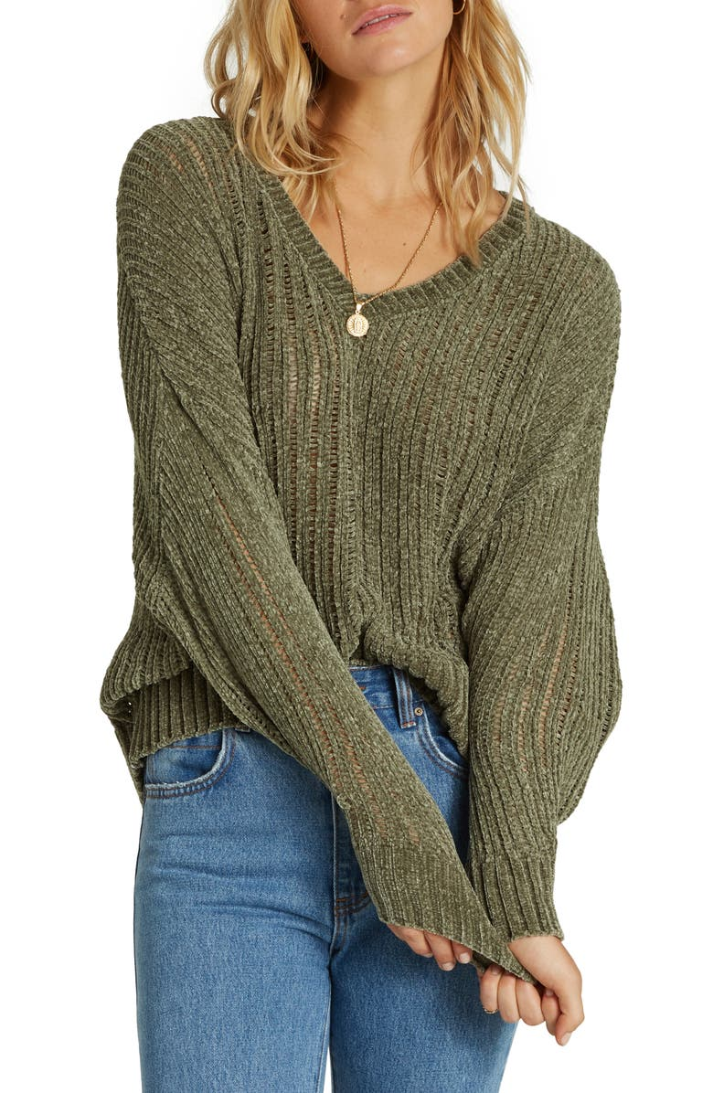 BILLABONG Higher Ground Chenille Sweater, Main, color, SAGE