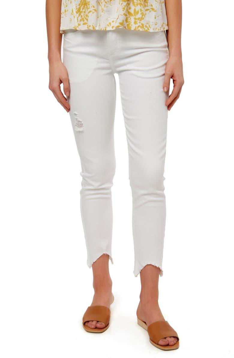 O'NEILL Christina Fray Hem Skinny Jeans, Main, color, WHITE