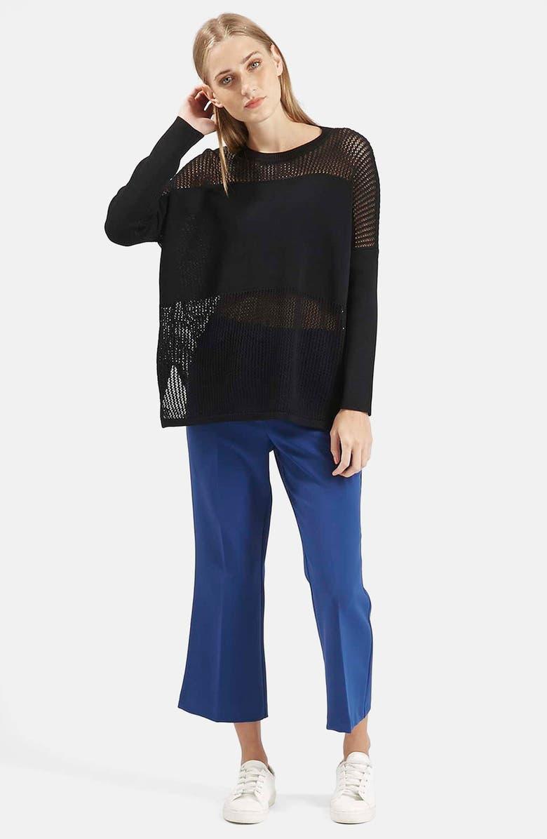 TOPSHOP Panel Sweater, Main, color, Black