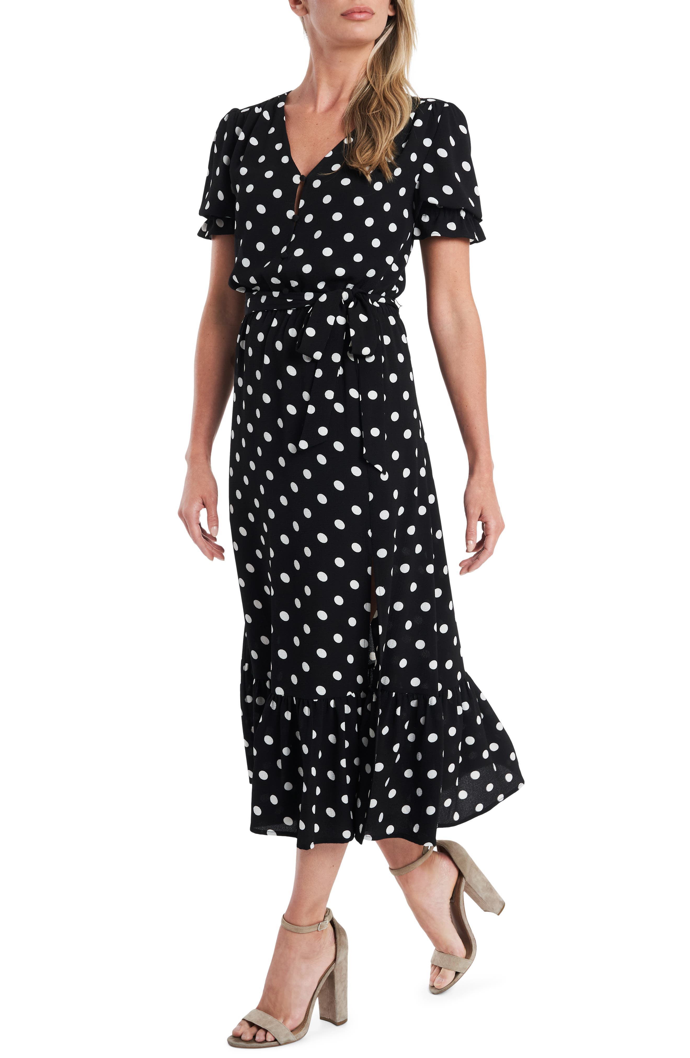 Vintage Polka Dot Dresses – 50s Spotty and Ditsy Prints Womens Cece Disco Dot Puff Sleeve Midi Dress Size 12 - Black $69.50 AT vintagedancer.com