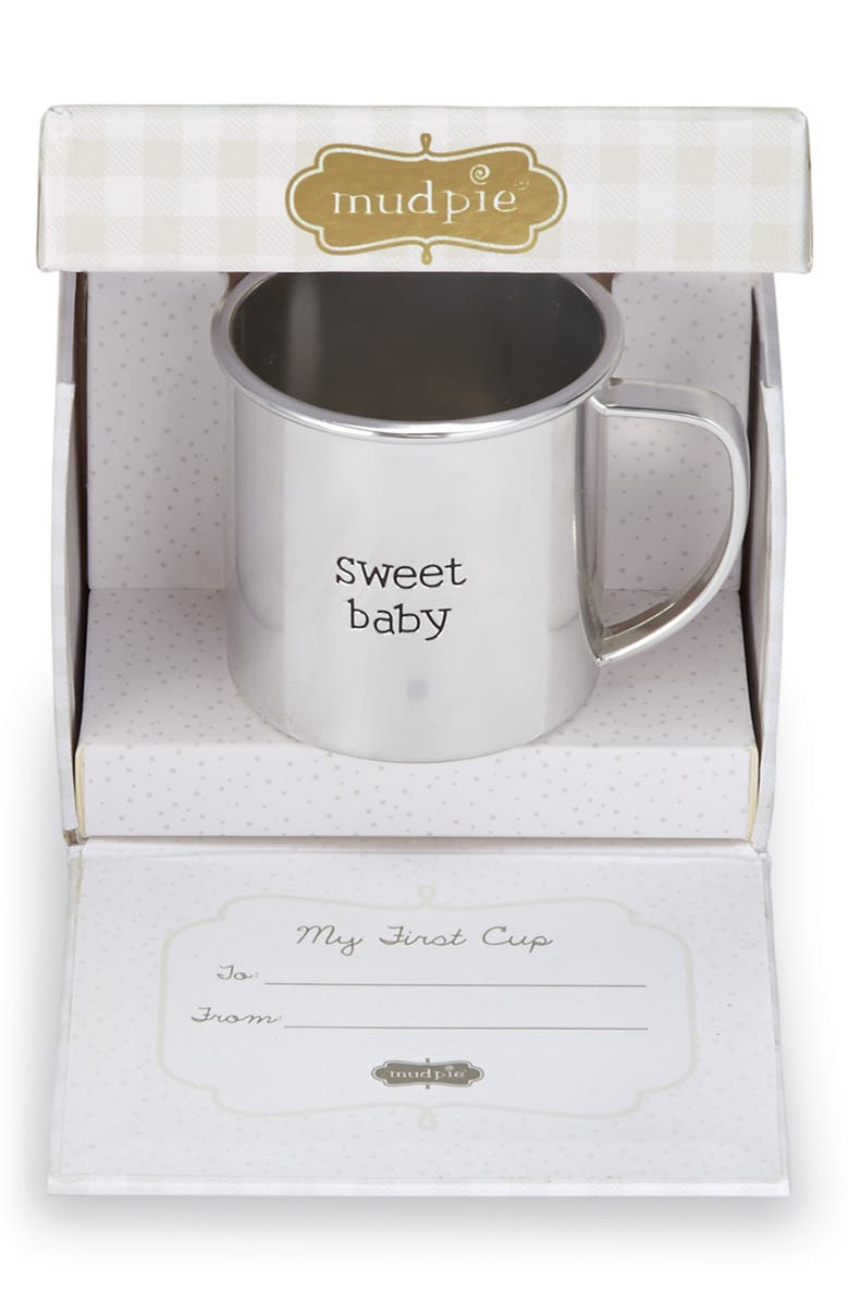MUD PIE My First Cup Sweet Baby Cup, Main, color, SILVER