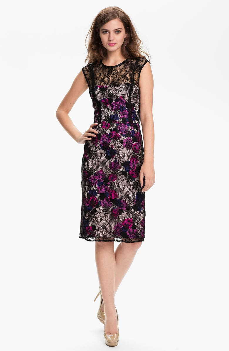FRENCH CONNECTION 'Fast Lois Lace' Floral Illusion Yoke Sheath Dress, Main, color, ANGELIC MU