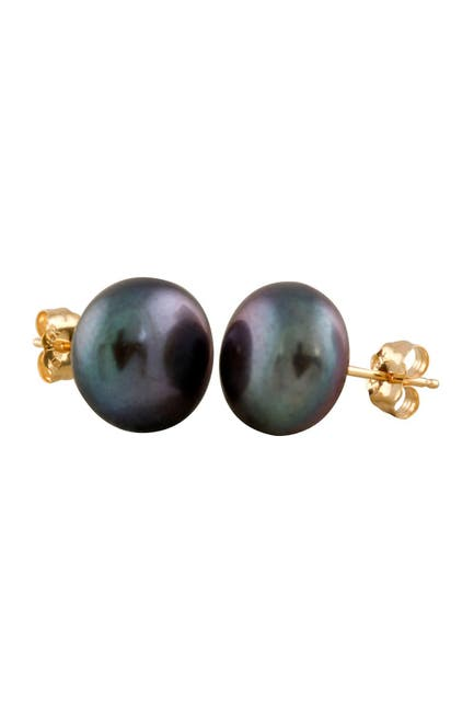 Image of Splendid Pearls 14K Yellow Gold 10-11mm Black Freshwater Pearl Stud Earrings