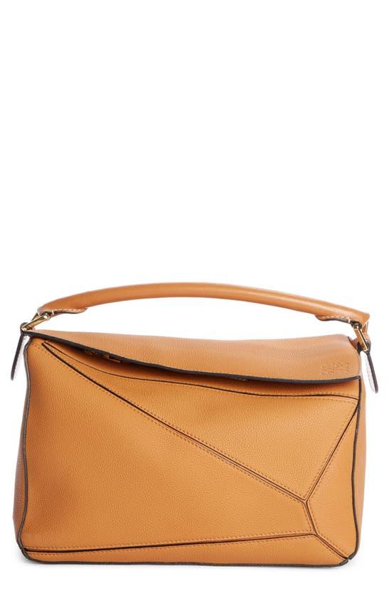 Loewe Puzzle Medium Leather Shoulder Bag In Light Caramel