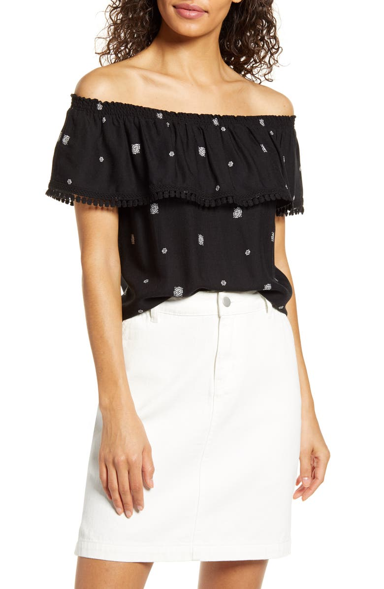 GIBSON x Hi Sugarplum! Naples Convertible Off the Shoulder Top, Main, color, VENEZIA/ BLACK