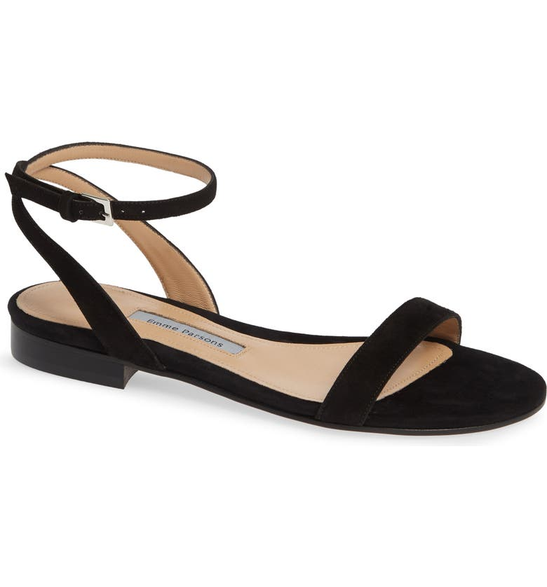 EMME PARSONS One Ankle Strap Flat Sandal, Main, color, BLACK