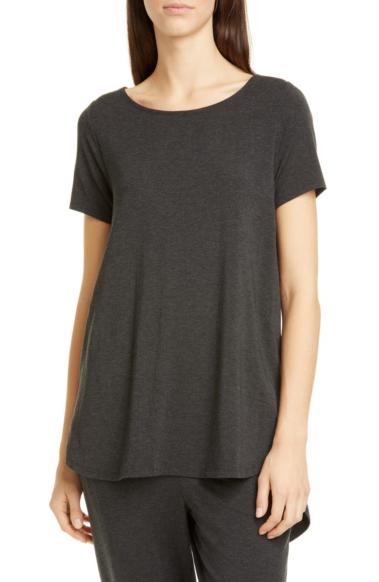 EILEEN FISHER Ballet Neck Tencel<sup>®</sup> Lyocell Tee, Main, color, CHARCOAL