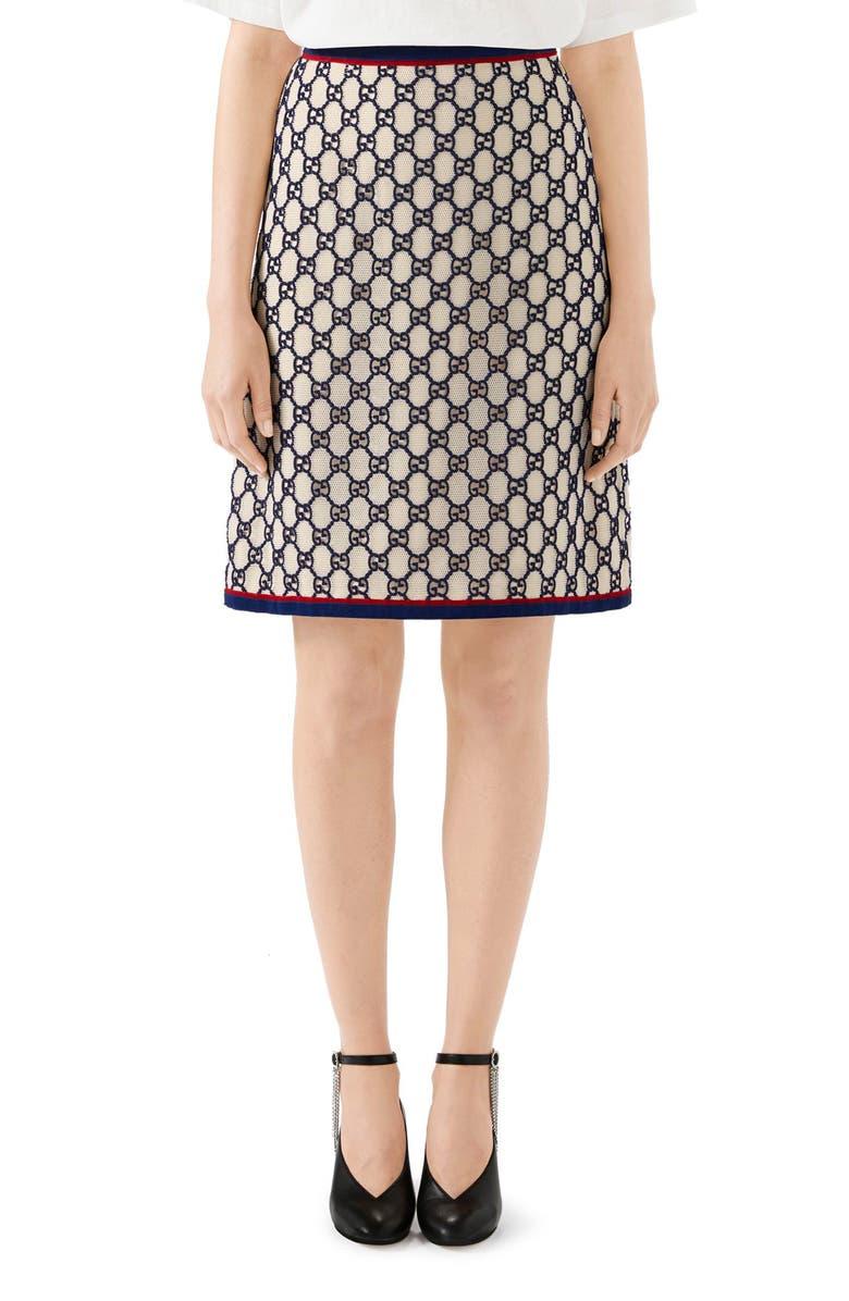 fea58cf4a GG Macramé A-Line Skirt, Main, color, NATURAL WHITE/ BLUE