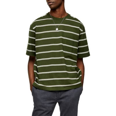 Topman Stripe Oversize Pocket T-Shirt, Green