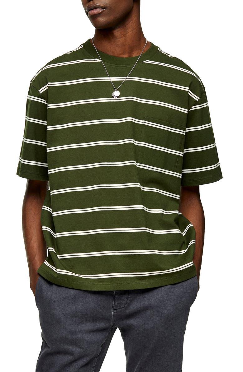 TOPMAN Stripe Oversize Pocket T-Shirt, Main, color, 300