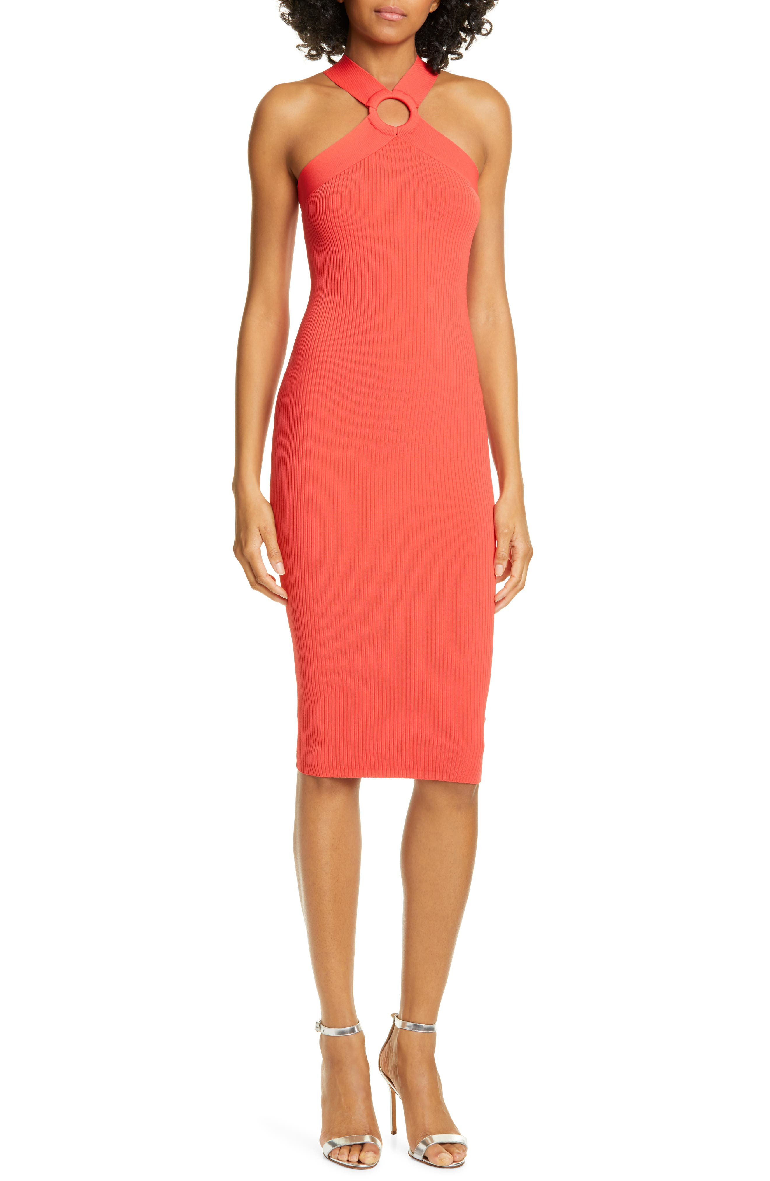 Ted Baker London Sionna Ribbed Body-Con Sweater Dress, Red