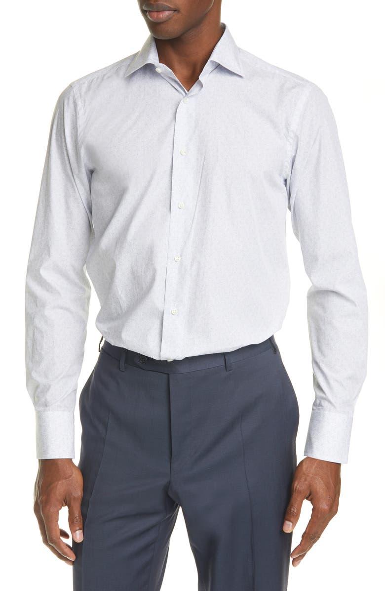 CANALI Trim Fit Paisley Dress Shirt, Main, color, WHITE