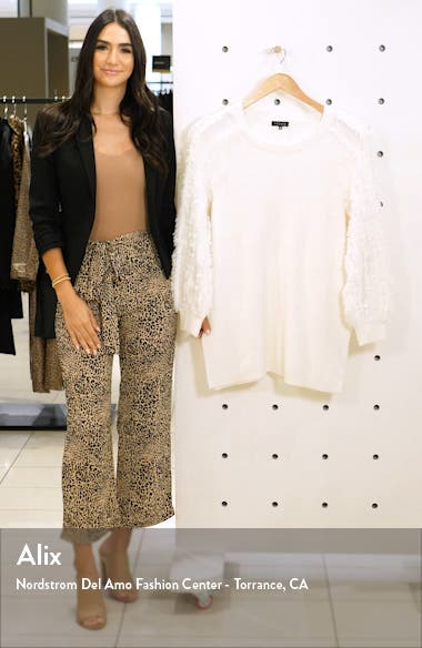 Fringe Sleeve Crewneck Cotton Blend Sweater, sales video thumbnail
