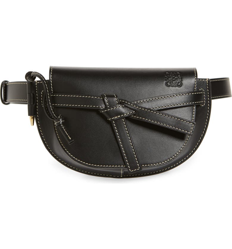 LOEWE Mini Gate Calfskin Leather Belt Bag, Main, color, BLACK