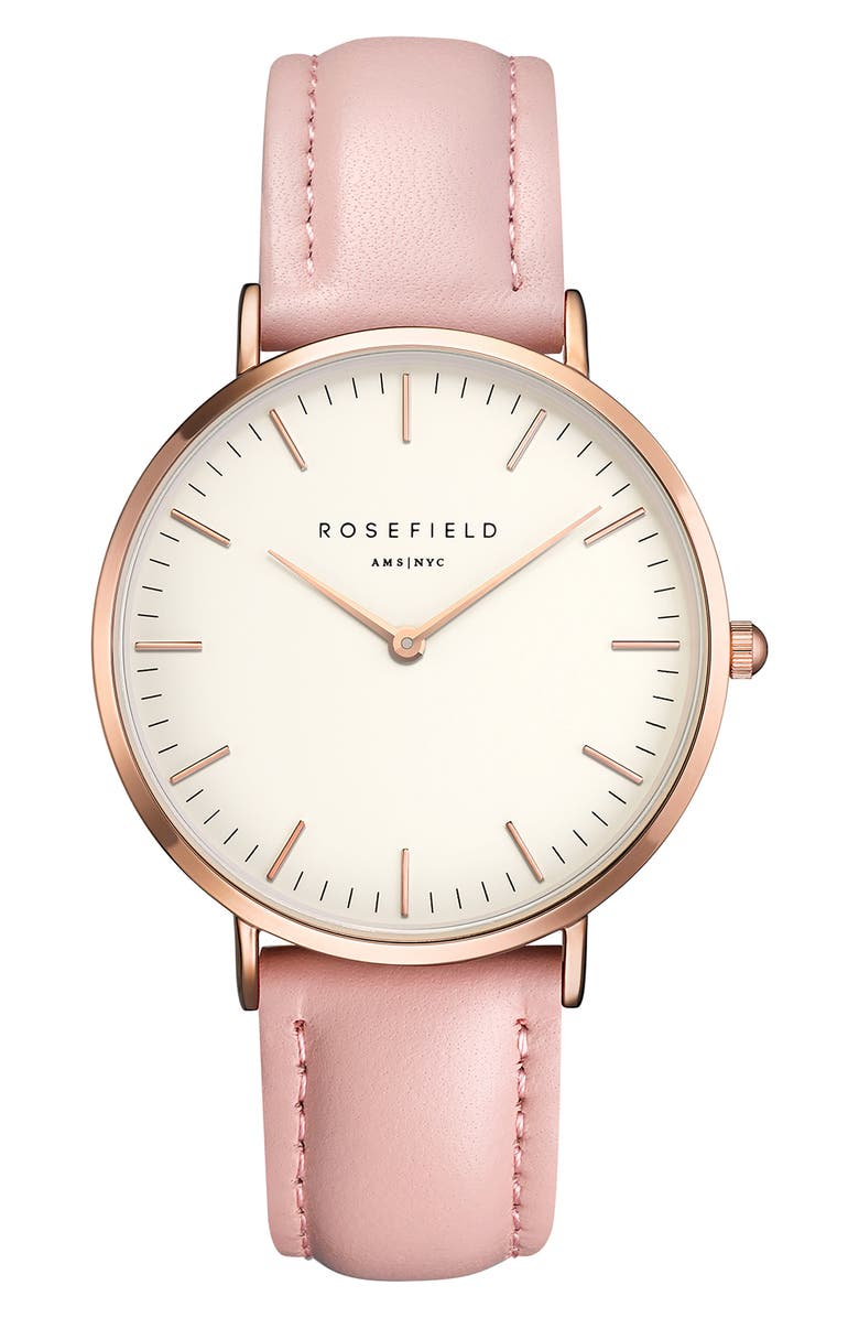 ROSEFIELD Bowery Leather Strap Watch, 38mm, Main, color, PINK/ WHITE/ ROSE GOLD