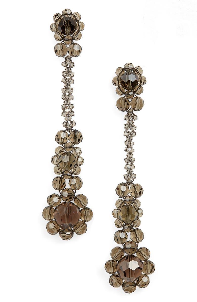 SIMONE ROCHA Crystal Drop Earrings, Main, color, SMOKE