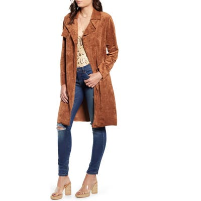 Blanknyc Faux Suede Trench Coat, Brown