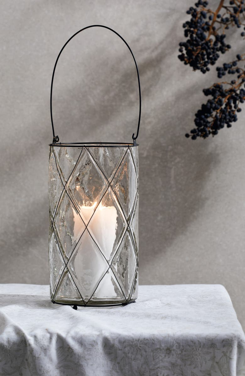 THE WHITE COMPANY Captured Wire Hurricane Candleholder, Main, color, CLEAR