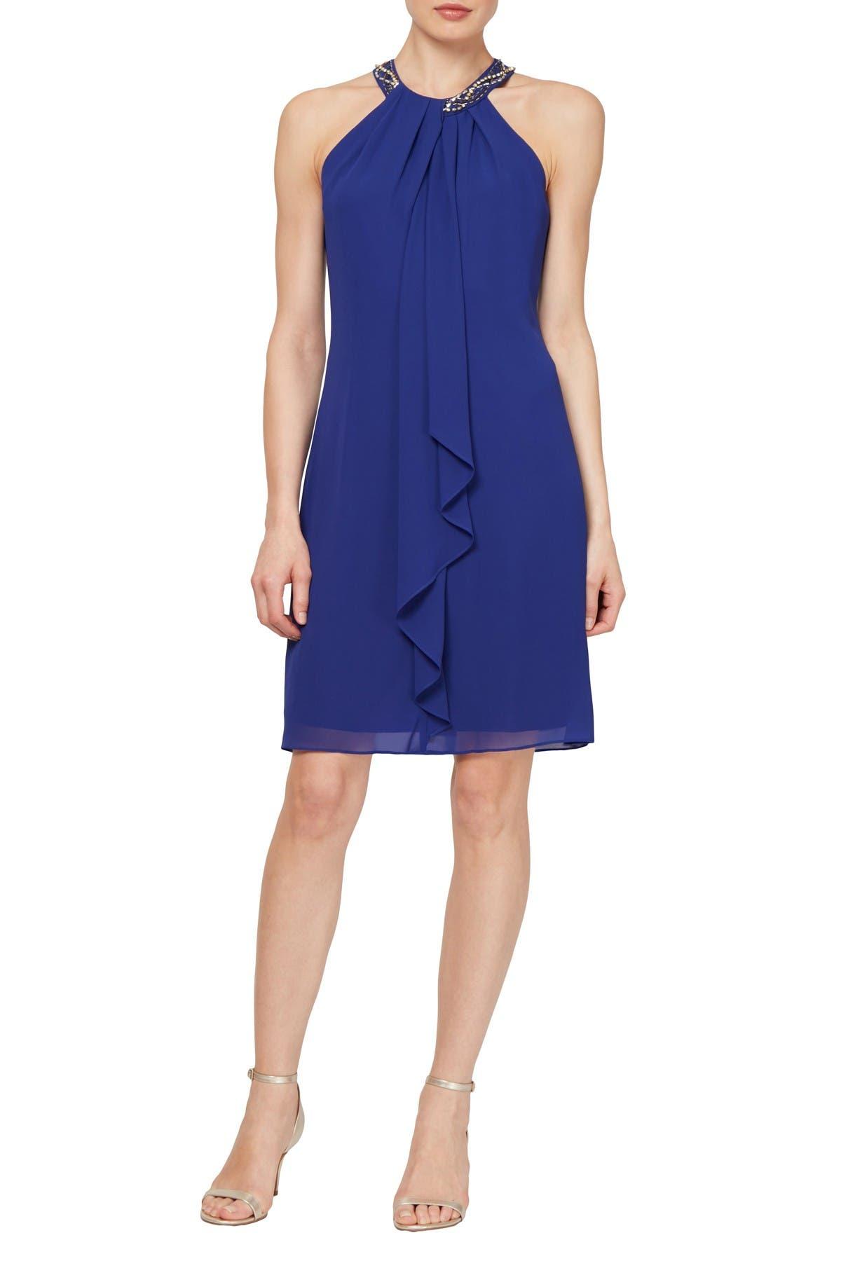 Image of SLNY Bead Braided Halter Chiffon Dress