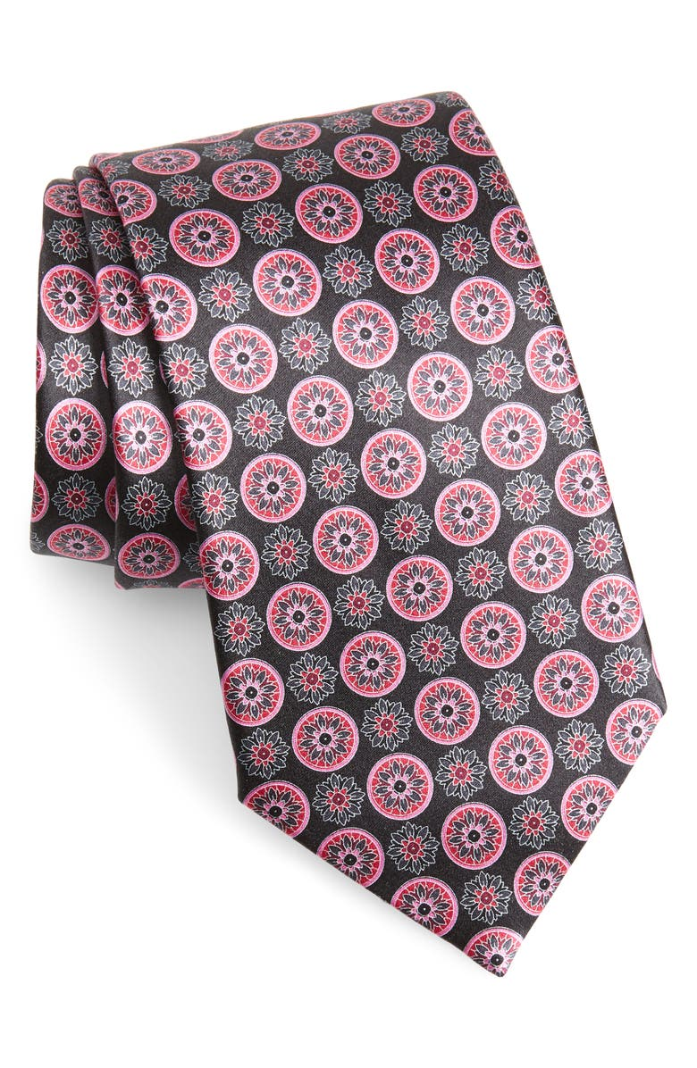 ERMENEGILDO ZEGNA Medallion Silk Tie, Main, color, PINK