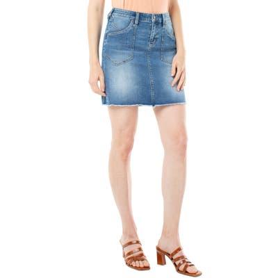 Liverpool Patch Pocket Denim Miniskirt, Blue