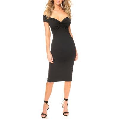 Katie May Harlow Off The Shoulder Body-Con Cocktail Dress, Black