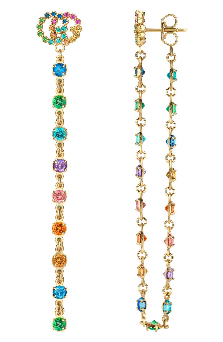 GUCCI Double-G Multistone Chain Stud Earrings, Main, color, 710