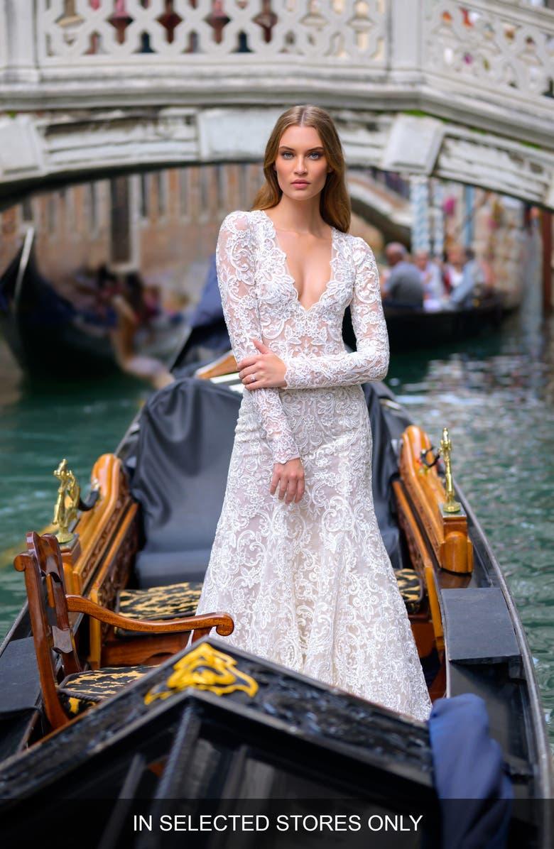 BLISS MONIQUE LHUILLIER Long Sleeve Lace Trumpet Wedding Dress, Main, color, SILK WHITE / LATTE