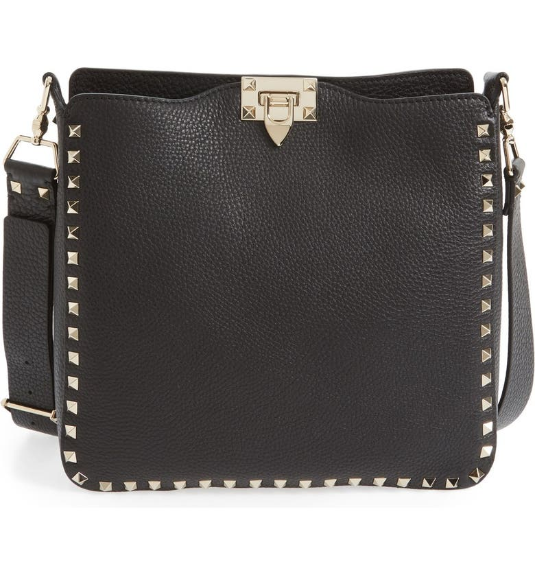 VALENTINO GARAVANI Vitello Rockstud Hobo, Main, color, NERO