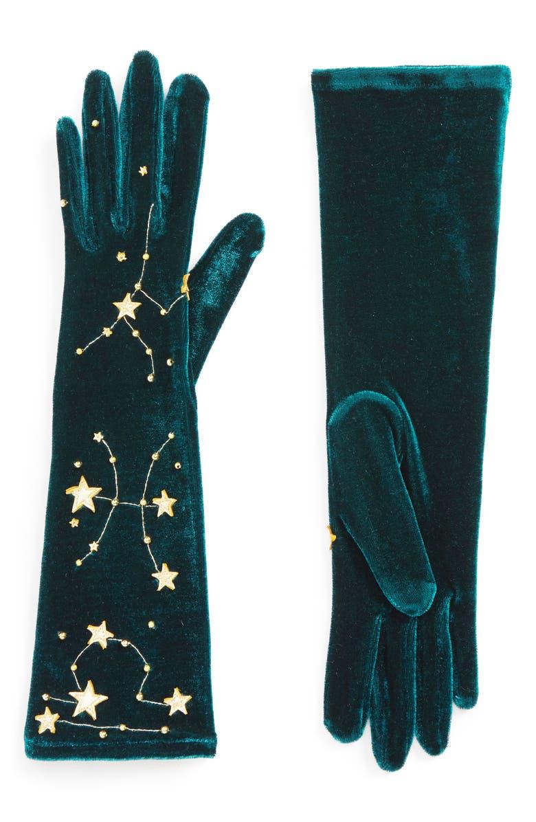 AGNELLE Constellations Velvet Gloves, Main, color, DUCK/ GOLD