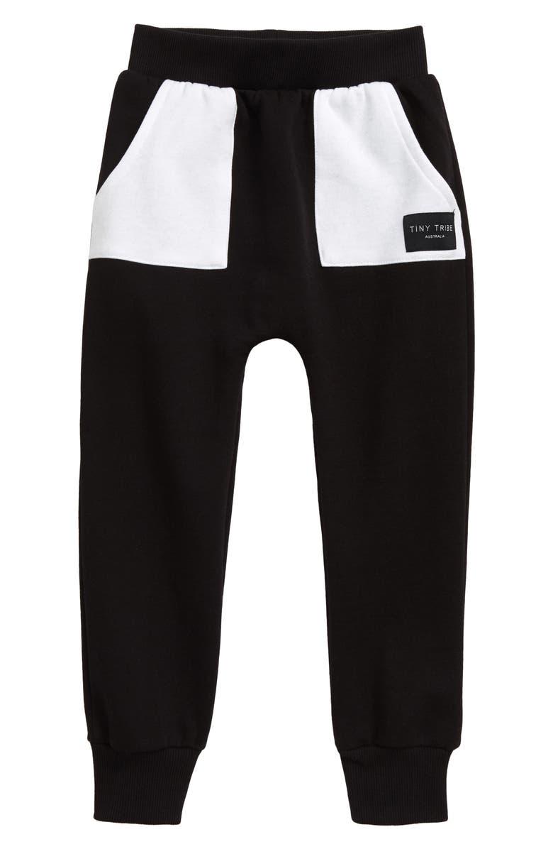 TINY TRIBE Pocket Sweatpants, Main, color, BLACK/ WHITE