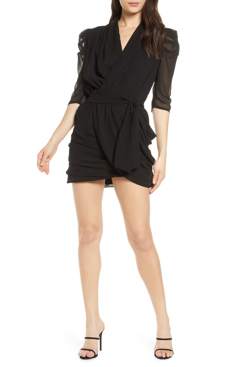 BELLEVUE THE LABEL Antoinette Faux Wrap Mini Dress, Main, color, BLACK