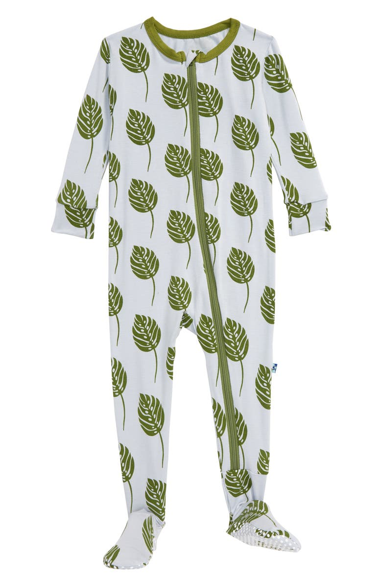 KICKEE PANTS Leaf Print Jersey Footie, Main, color, DEW PHILODENDRON