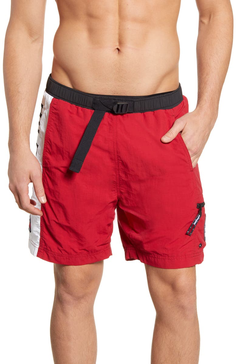 TOMMY JEANS Logo Swim Trunks, Main, color, BARBADOS CHERRY