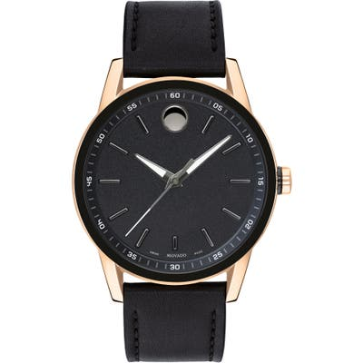 Movado Leather Strap Watch, 42Mm