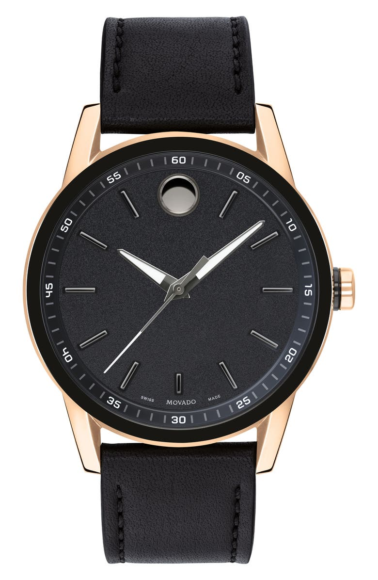 MOVADO Leather Strap Watch, 42mm, Main, color, BLACK/ ROSE GOLD