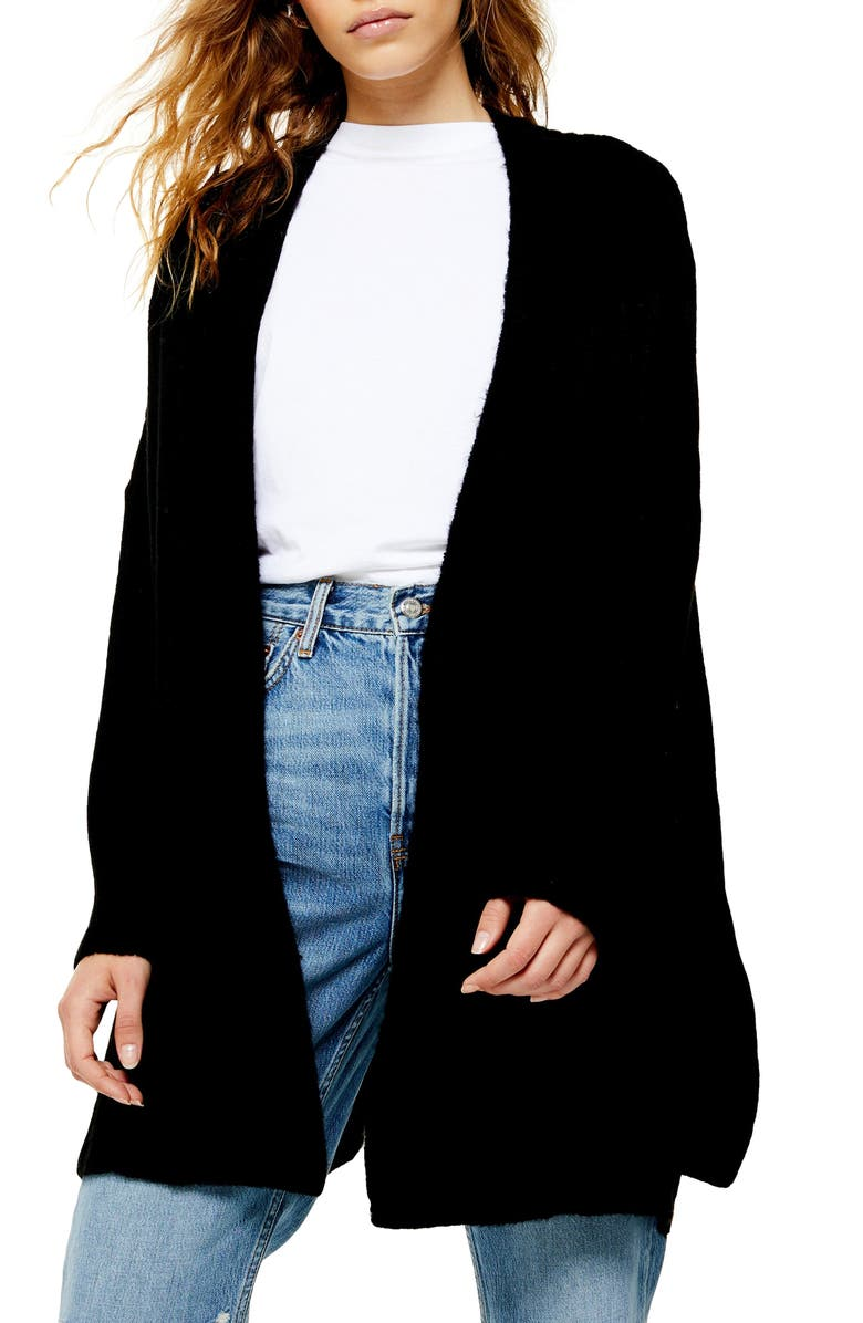 TOPSHOP Long Cardigan, Main, color, BLACK