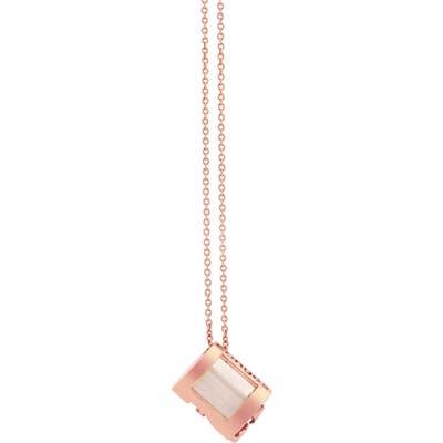 Conges Wisdom & Maternal Love Milky Quartz Initial Barrel Pendant Necklace