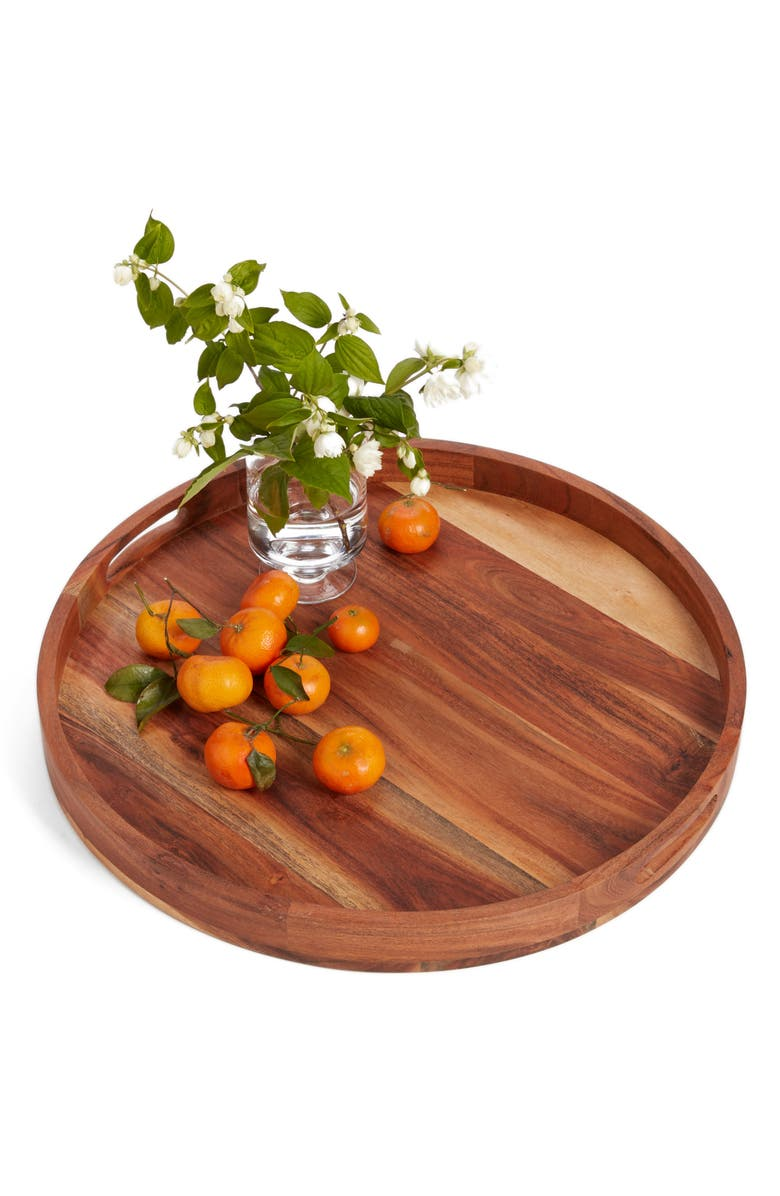 NORDSTROM AT HOME Large Round Acacia Wood Serving Tray, Main, color, BROWN