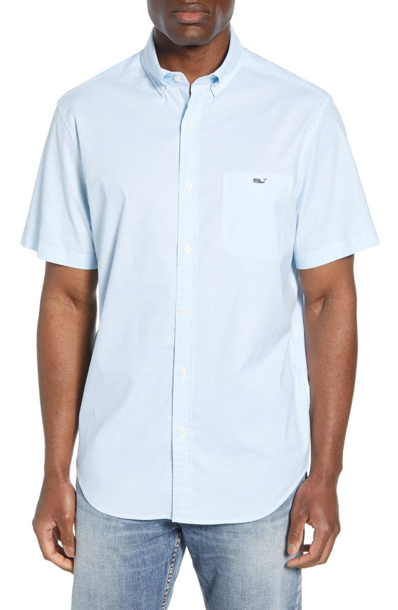 VINEYARD VINES Tucker Classic Fit Mini Waves Shirt, Main, color, WHITE CAP