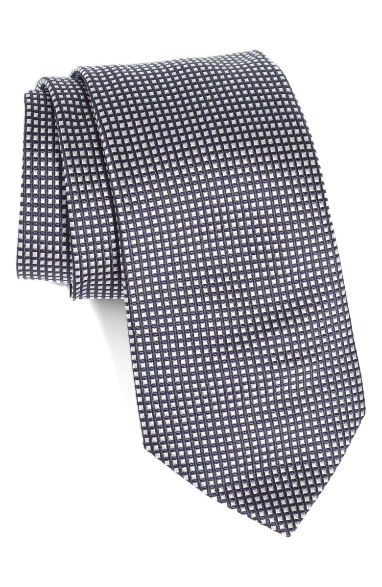 EMPORIO ARMANI Plaid Silk Tie, Main, color, BLACK