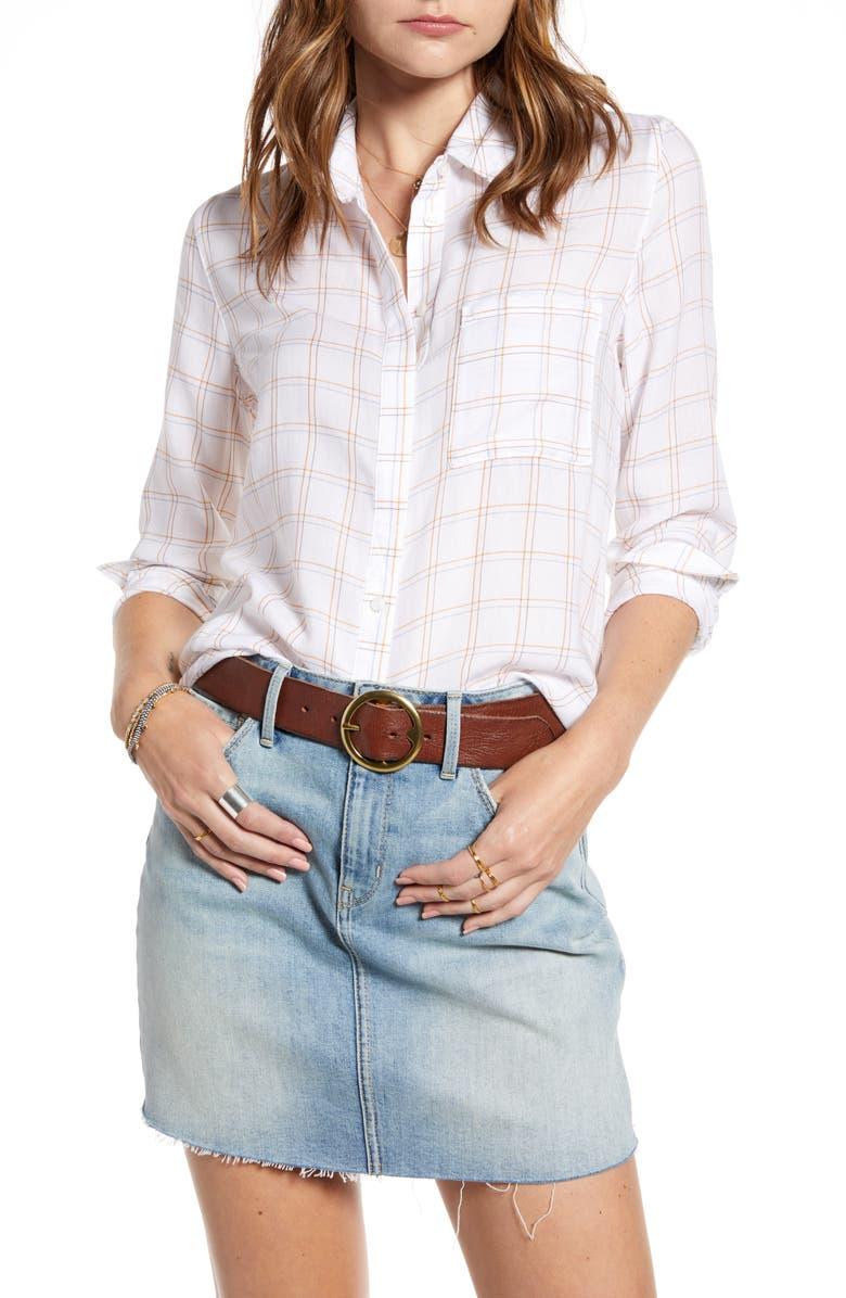 TREASURE & BOND Classic Drapey Shirt, Main, color, WHITE MABEL PLAID